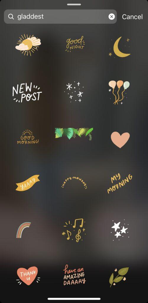 instagram story gif stickers